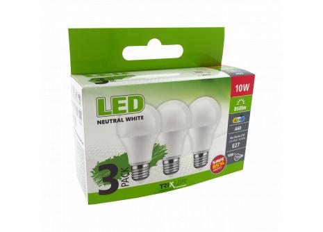 LED žiarovka 10W A60 E27 neutrálna biela 3PACK