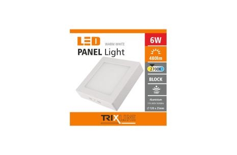 Podhľadové LED svietidlo TRIXLINE – prisadené štvorcové 6W teplá biela