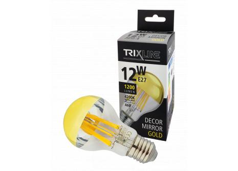 Dekorační LED žárovka Trixline DECOR MIRROR A60, 12W GOLD