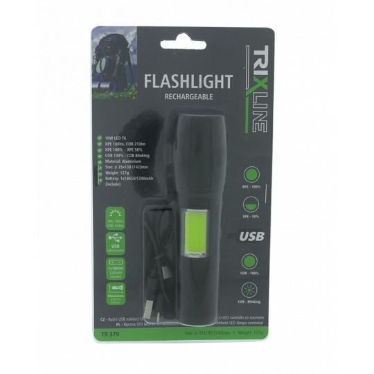 Ruční USB nabíjecí LED svítilna se zoomem TR 370