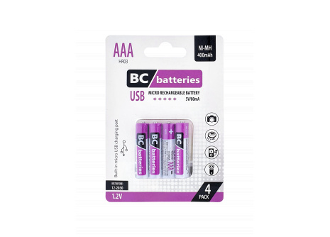 USB Nabíjacia 1,2V AAA tužková batéria BC batteries