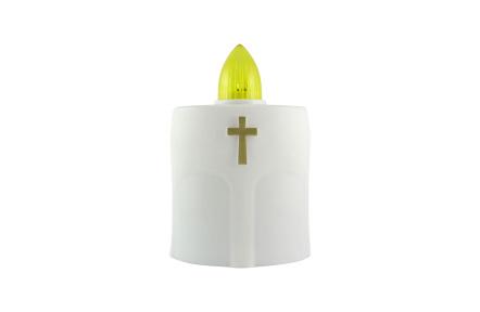 Náhrobná LED sviečka s krížikom biela