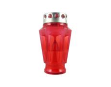 Náhrobná  LED sviečka váza červená