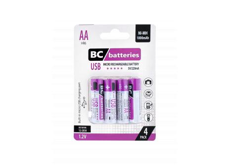 USB Nabíjateľná 1,2V AA tužková batéria BC batteries