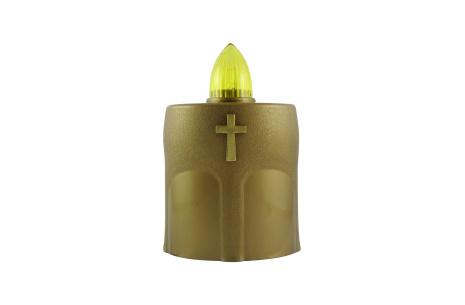 Náhrobná LED sviečka s krížikom zlatá