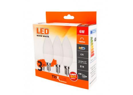 LED žiarovka 6W C35 E14 teplá biela 3 PACK