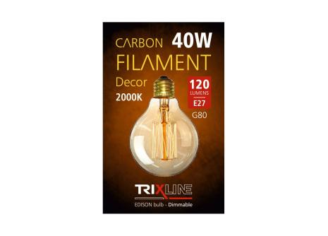 Dekoračná stmievateľná žiarovka Trixline 40W E27 (G80-SC17)