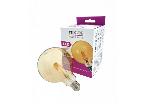 Dekoračná LED žiarovka FILAMENT Trixline 10W G-125 E27 GOLD