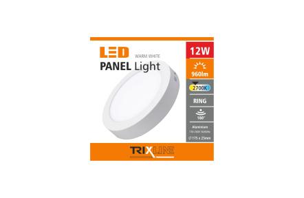 Podhľadové LED svietidlo TRIXLINE – prisadené kruhové 12W teplá biela