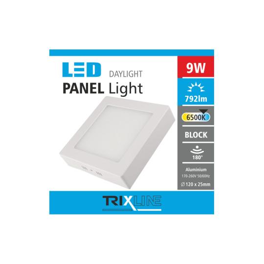 Podhľadové LED svietidlo TRIXLINE – prisadené štvorcové 9W studená biela