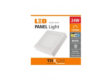 Podhľadové LED svietidlo TRIXLINE – prisadené štvorcové 24W teplá biela