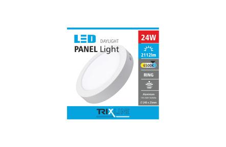 Podhľadové LED svietidlo TRIXLINE – prisadené, okrúhle 24W studená biela