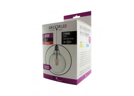 Dekoračná LED žiarovka FILAMENT Trixline 4W G-125 E27 teplá biela