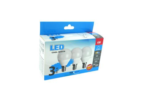 LED žiarovka BC TR 6W E14 P45 denná biela 3PACK